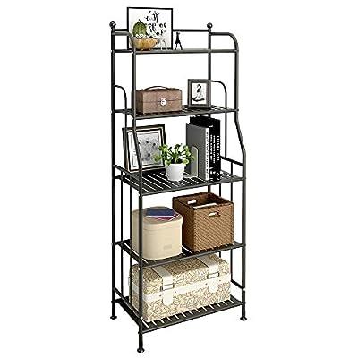GHQME 5 Tier Metal Standing Shelf Space Saver, Storage Tower Rack for Kitchen Bathroom, Storage Shelving Unit Organizer, Outdoor Flower Stand (Black, 5-Tier)