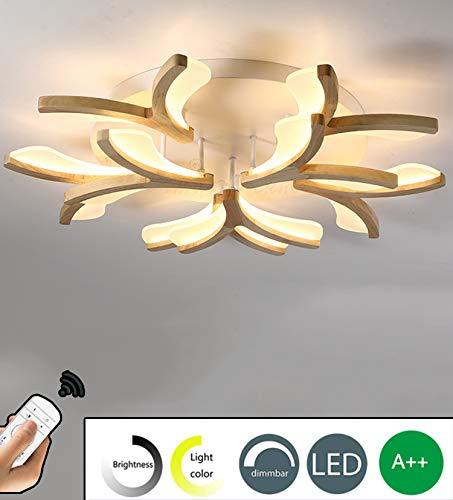 LED Holz Schlafzimmer Deckenleuchte Dimmbar Wohnzimmer Deckenlampe mit Fernbedienung 80W Blütenform Deko Beleuchtung wood Decke Licht Esszimmerlampe Schlafzimmerlampe Wohnzimmerlampe Kinderzimmerlampe