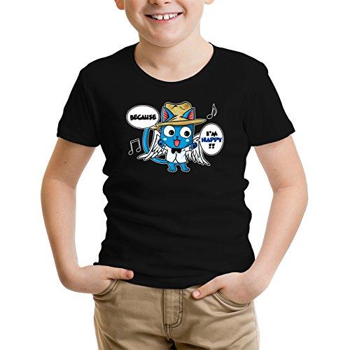 Okiwoki T-Shirt Enfant Noir Fairy Tail parodique Happy : Happy Williams : (Parodie Fairy Tail)