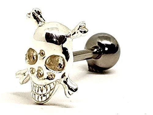 Eclectic Shop Uk Zungenstab Zunge Barbell 925 Silber Totenkopf & Gekreuzte Knochen 14g (1.6mm) 316L Stahl Stangen Piercing
