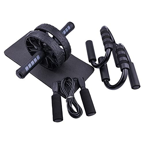 Set de Ejercitar Rodillo Abdominales, 4 en 1 Rueda de Abdominales AB Wheel Roller con Push Up Bars, Cuerda para Saltar & Rodilla Mat para Entrenamiento en Casa Ejercicios Fitness
