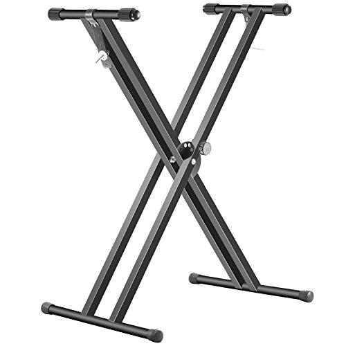 Neewer® Soporte de teclado, plegable, de hierro macizo, color negro, con dos brazos, diseño en forma de X, con correas de bloqueo y embrague de disco de 5 posiciones para un ajuste sencillo de la altura y la anchura