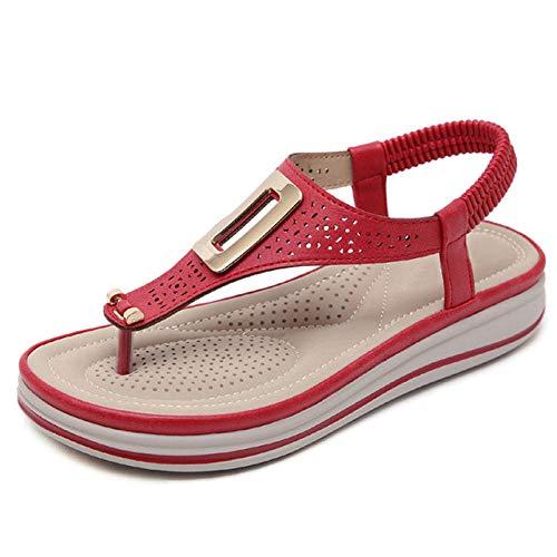 ypyrhh Zeppa con Tacco Medio Alto da Donna,Sandali delle Donne della Spiaggia del Mare di Vacanza,Pantofole del Tallone del Pendio-Red_37,Scarpa da Piscina per scivoli da Spiaggia