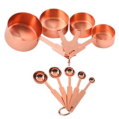 Gaoominy 9 Piezas de Tazas y Cucharas Medidoras de Acero Inoxidable de Oro Rosa para el Juego de Hornear Cuchara Medidora de Condimentos de Cocina