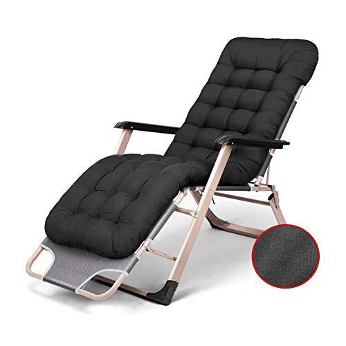Sillón de Descanso Silla reclinable Cama reclinable Cojín Grueso Plegable Jardín Acolchado Al Aire Libre Silla Perezosa (Color : Negro)