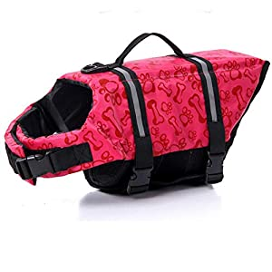 HAOCOO Dog Life Jacket Vest Saver Safety Swimsuit Preserver with Reflective Stripes/Adjustable Belt Dogs?Pink Bone,XXS