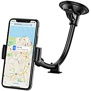 Car Phone Holder, Mpow Windshield 8.66 Inches LongArm Mobile Car Cradle Windscreen Car Mount Grip Universal Phone Holder with Support from Dashboard, Compatible for iPhone 7 6S 6 5s 5, LG, Samsung S6 S5 Note 5 4, Google Nexus 5, HTC and Others and GPS:Animewalk