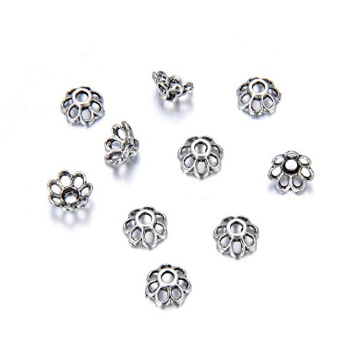 200pcs 7-Petal Anemone Flower Floral Bead Caps 7.8mm Antique Silver Tone for for Necklace Bracelet Earrings Keychain Jewelry Craft Making MC-AB8