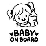 TMANQ 2 unids/Set bebé a Bordo Pegatina de Coche de Dibujos Animados niña sostiene una Botella calcomanía camión Motocicleta Accesorios de Coche PVC, 16 cm * 12 cm