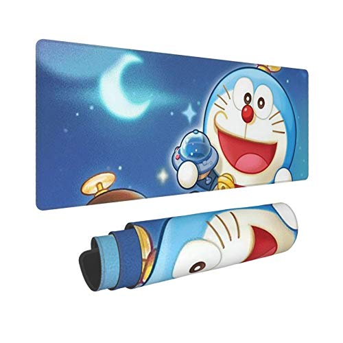 Doraemon Cartoon Gaming Mouse Pad Desk Pad Protector with Non-Slip Rubber Base Anime Mouse Mat Desk Pads for Computers Laptop Home Office Gaming Work 31.5x11.8in