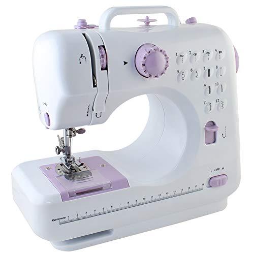 NEX Portable Sewing Machine Double Speeds for Beginner Art Craft 12 Stitches Light Purple