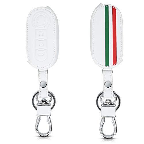 kwmobile Autoschlüssel Hülle kompatibel mit FIAT Lancia 3-Tasten Klapp Autoschlüssel - Kunstleder Schutzhülle Schlüsselhülle Italien Streifen Grün Rot Weiß