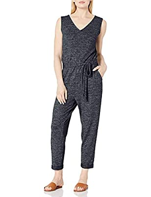 Amazon Brand - Daily Ritual Women's Cozy Knit Sleeveless Tie-Waist Jumpsuit, Black Marl, Medium