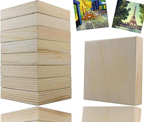Oruuum 8 Pack 4' x 4' Wood Panel Boards for Painting, Wood Squares Craft Panels Wood Board Pinewood Blocks for Crafts Unfinished