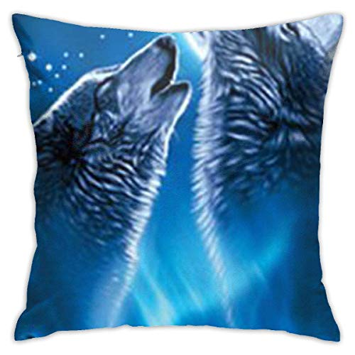 Wolves Howling Moon Soft Square Throw Pillow Covers Cushion Case 45X45CM