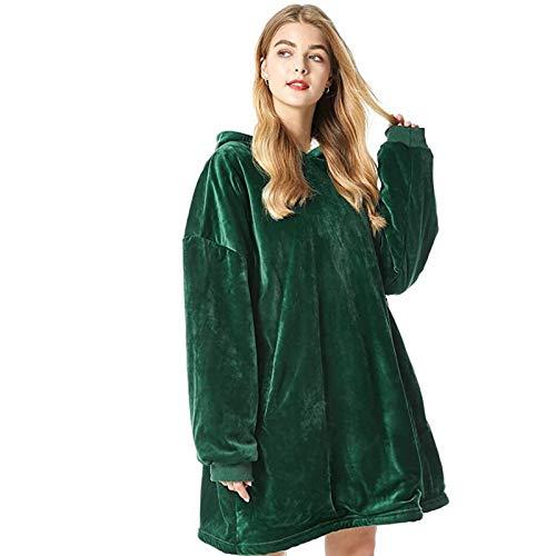 KPII Manta Sudadera con Capucha, Calentita Grande Pullover Mullido de Doble, Manta de TV para Hombres, Mujeres,Verde,One Size