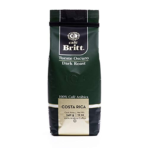 Gourmet Café Britt Costa Rica Tueste Oscuro / Dark Roast 100% Café Arábica ganze Bohnen, 340 g Packung