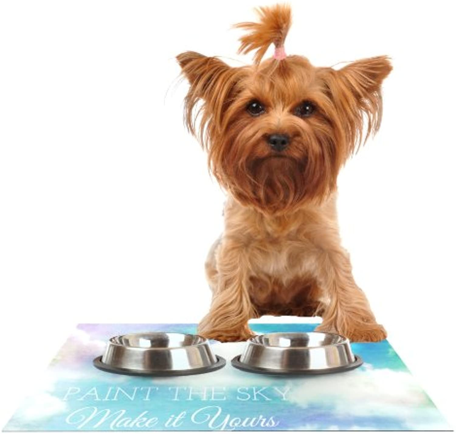 Kess InHouse Alison Coxon Paint The Sky   bluee White Feeding Mat for Pet Bowl, 24 by 15
