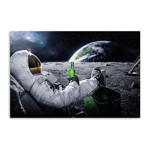 Astronauta del espacio exterior lienzo pintura cosmonauta bebiendo cerveza en la luna carteles impresos imágenes de pared divertidas para la decoración de la sala de estar