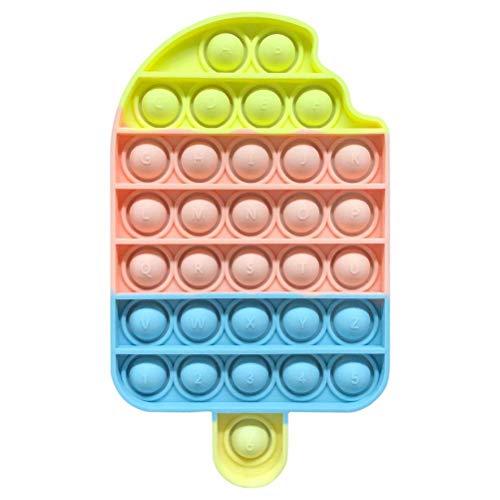 VOUNEDA Empuje el Juguete sensorial Burbujas,Fidget Toy Rainbow Ice Cream,sensorial Burbujas,Juguete Forma Helado arcoíris Juguete descompresión Silicona Grandes Regalos novedosos niñas Niños Adultos