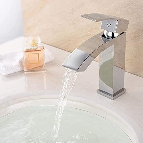 Grifo cromado latón baño grifo del fregadero agua caliente y fría cascada lavabo grifo grifo de agua grifo de la boquilla alargada