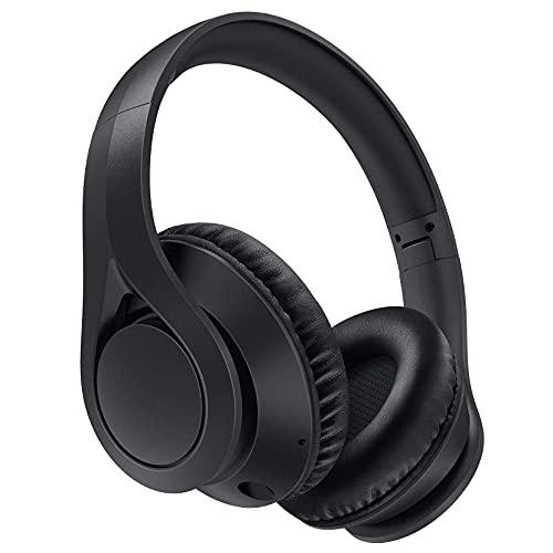 Cuffie over-ear wireless 60H, Cuffie pieghevoli wireless 5.0, Suono stereo HiFi, Paraorecchie proteici con memoria morbida, Modalità microfono/cablata integrata per lavoro Viaggio Telefono PC TV