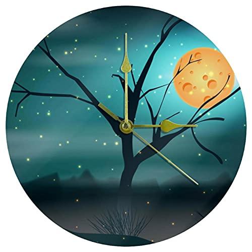 Yoliveya Reloj de pared redondo silencioso de pantano por la noche con fondo decorativo y silencioso para regalo en casa, oficina, cocina, guardería, sala de estar, dormitorio, 25 cm