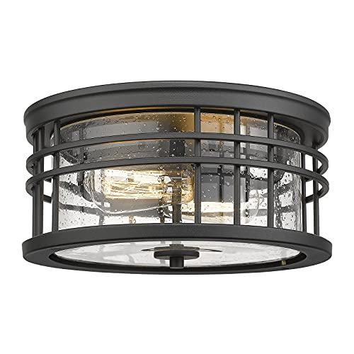 Zeyu Flush Mount Ceiling Light, 2-Light Farmhouse Semi Ceiling Light Fixture for Kitchen Hallway 12 Inch, Black Finish with Seeded Glass, ZW01-F BK
