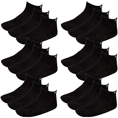 Kappa 18 Paar Sneaker Socken Gr. 35-46 Unisex Kurzsocke, Farbe:Black, Socken & Strümpfe:39-42