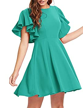 Romwe Women s Stretchy A Line Swing Flared Skater Cocktail Party Dress Teal Blue M