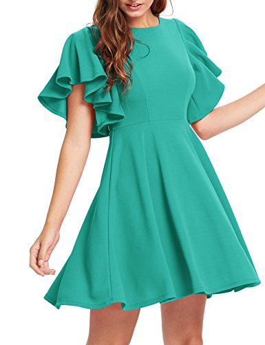 Romwe Women's Stretchy A Line Swing Flared Skater Cocktail Party Dress Teal Blue L