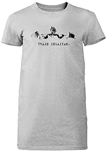 Train Insaiyan Gris Mujer Vestido Largo Camiseta Tamaño XL Grey Dress Long Women's tee Size Size XL
