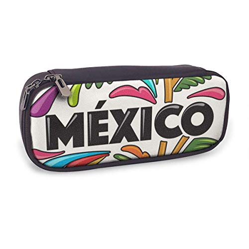 Estuche Escolar de Gran Capacidad,Composición de México,Bolsa de Lápiz Organizador para Material Papelería con Cremallera Doble