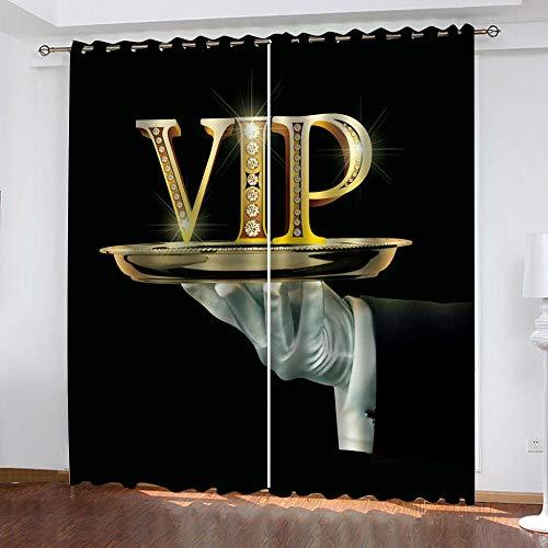 Bawangbieji Blickdichte Gardinen Verdunkelungsvorhang Lichtundurchlässige Vorhang mit Ösen 2er Set Wärmeschutz & Geräuschreduzierung für Zimmer - VIP-Behandlung-W117X183cmX2 Panel