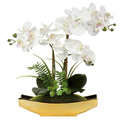 Bonsái de orquídea artificial en maceta para centro de mesa, sala de estar, decoración del hogar, etc., flores Phalaenopsis artificiales de seda