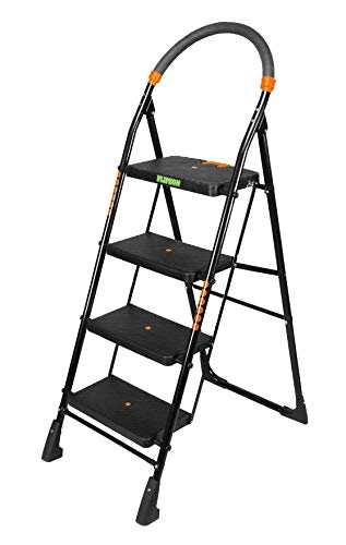 FLIPZON Premium Heavy Foldable Cameo 4 Steps Ladder with Wide Steps & Anti-Skid Shoes (Make in India) - Black