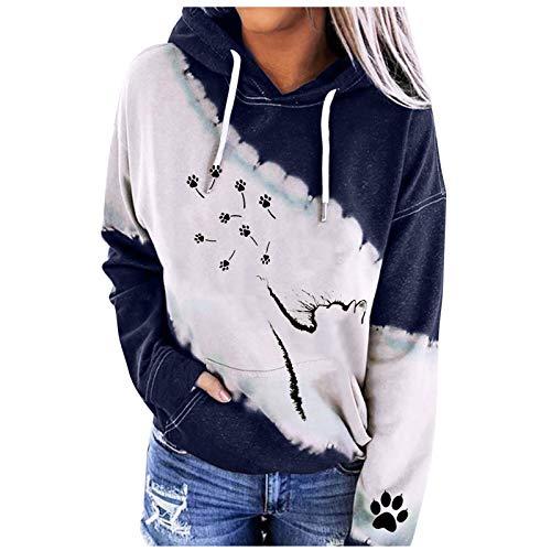 Sudadera para mujer con capucha, estampado de gato, bonita, sudadera de algodón de manga larga con cordón deportivo casual Tops Blusa 2021 azul XL