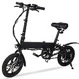 M MEGAWHEELS Bicicleta Eléctrica, Bicicleta electrica 36V 14' Ultra Ligero Plegable Ciudad Ebike, 3 Modos, Potencia de Asistencia 30-40KM.