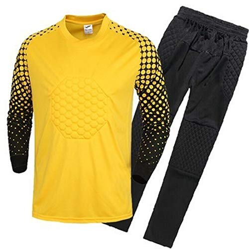 MENGMIAN Fußball-Torwart langärmelige Anzughose Shorts Fußballuniform Trikot Set für Herren & Kinder (gelb, S (Hose))