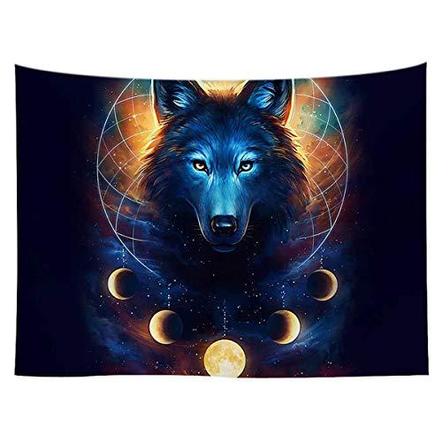 Soapow Tapiz de pared con diseño de lobo en el espacio para colgar en la pared para dormitorio, sala de estar y dormitorio