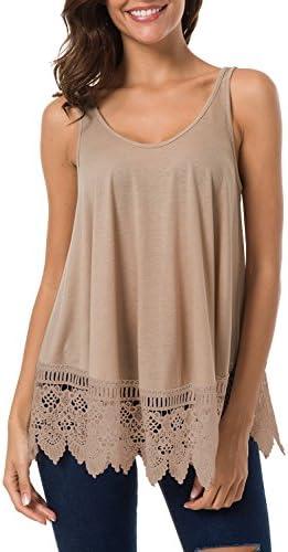 Women s Casual Basic Lace Extender Tank Top Bottom Hem Vest Khaki product image