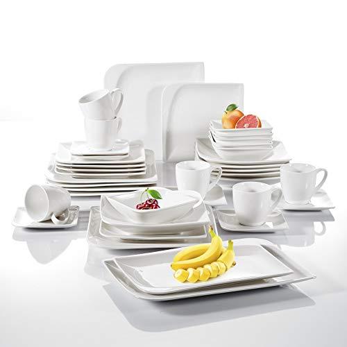 vancasso, Service de Table en Porcelaine Blanche, Assiette Plate, Assiette Creuse (Cloris, 38 Pcs Complet)