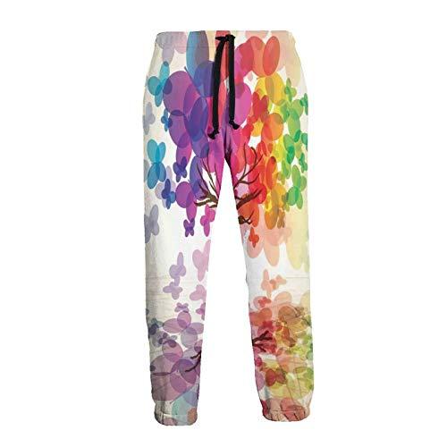 Olverz Colorido árbol de mariposa hombres pantalones deportivos cómodos pantalones chándal frescos pantalones sueltos con cordón