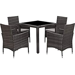 Wisteria Lane Grey Wicker Outdoor dining set 5 piece next to oceanside