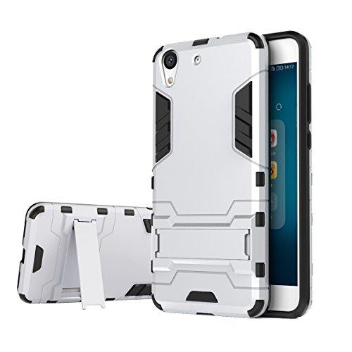 bdeals Huawei Y6 II/Honor 5A Funda 2in1 Duro PC + Suave TPU High Absorción de Impacto [Kickstand] Armor Carcasa Case para Huawei Y6 II/Honor 5A - Plata