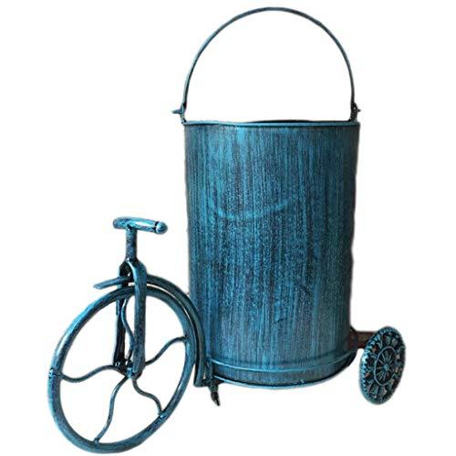 Creative LOFT Industrial Retro Wind Triciclo forma Metal Hierro Cubos de basura Cubos de basura Cubos de basura Cubo de basura de almacenamiento Papelera de reciclaje 9L (Color: Blanco Tamaño:
