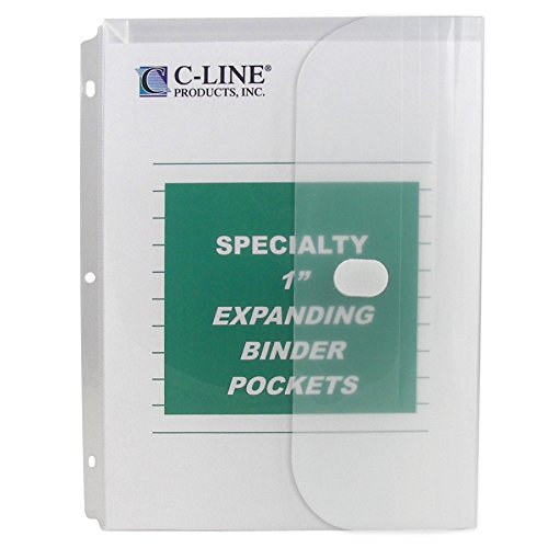 C-Line Biodegradable Acid-Free Poly Binder Pocket with 1-Inch Gusset, Side Loading, Clear, 10 Pockets per Pack (33747)