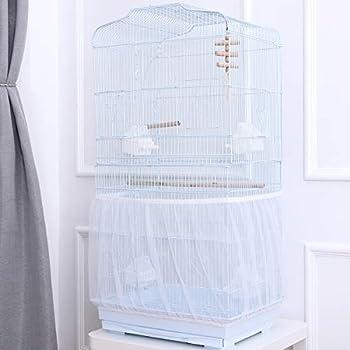 UEETEK Housse pour Cage Oiseaux Maille Couverture Protection Cage Oiseaux Perruches Canaris Attrape Graine Blanc Taille M