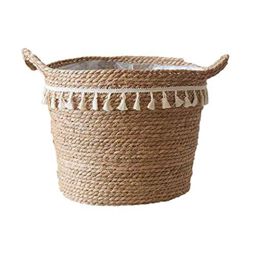 TOPofly Seagrass Seagrass Vientre Cesta Tejida Cesta del almacenaje de contenedores Macetas Natural de lavandería Cesta Tejida de lavandería Pot para jardín XL