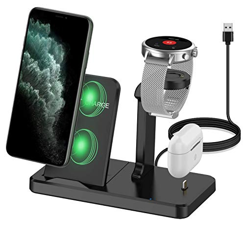 Kartice Charger Stand Compatible with Fossil Gen 5 44mm 42mm Charger Multiple Charger 3 in 1 Wireless Charging Station Stand for Fossil Gen 4/Airpods Pro/iPhone 12/Gen 5 Garrett Carlyle Charger